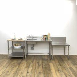 ガレージキッチン用  ステンレス&ウッド  脚付きカウンター